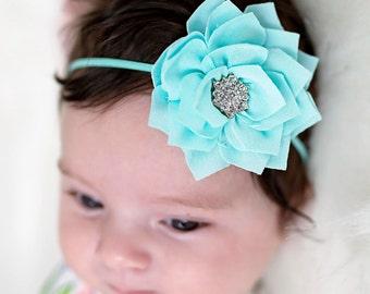 Aqua rhinestone flower headband - wedding headband - flower girl headband - elegant newborn girl headband - photo prop headband - baby girl