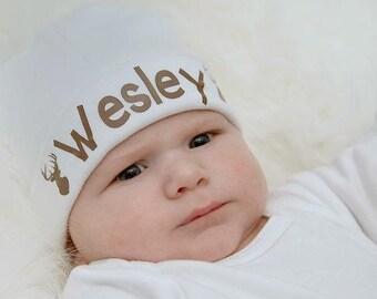 Personalized Baby Boy Deer Hat - Newborn Boy Hunting Hat - Baby Boy Knit Hat with deer head - Newborn Knit Hat - Baby Deer knit Beanie hat