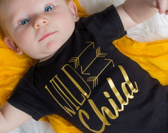 Newborn boy black and gold Wild Child bodysuit - take home outfit - Newborn girl hospital gown - Baby Boy Gift -  Hat Sold Seperate