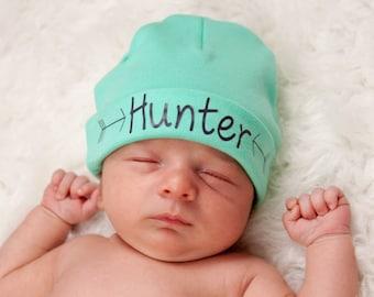 Aqua green newborn boy name hat.newborn baby boy hat.newborn boy green hat.baby boy arrow hat.newborn boy beanie.hospital hat.take home hat
