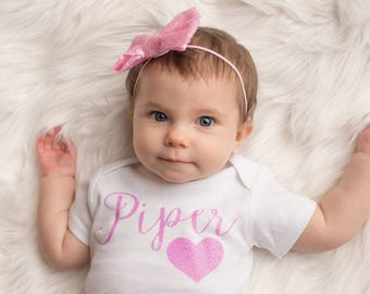 Personalized Baby Girls Bodysuit, Girls Pink Heart Shirt, Baby Girls Name Shirt, Custom Name Bodysuit, Personalized Girls Shirt, Girls Shirt