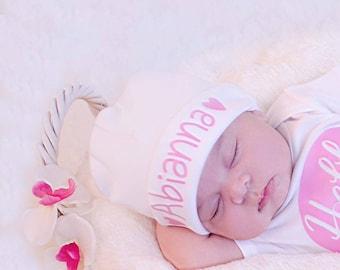 Newborn Girl Name Hat...newborn baby hat...pink hearts newborn hat...new baby hat...baby girl hat...take home hat...newborn photo prop hat