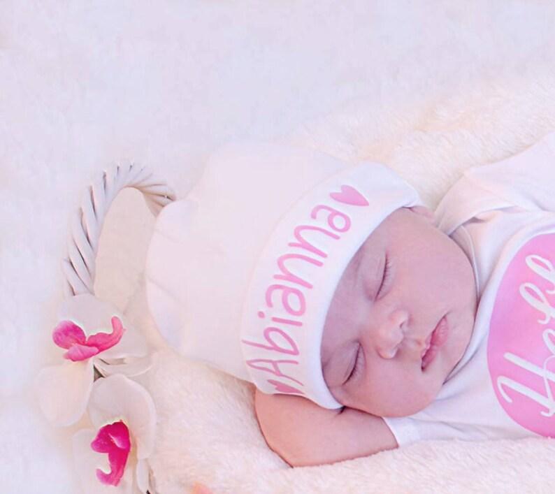 Newborn Girl Name Hat...newborn baby hat...pink hearts newborn image 0