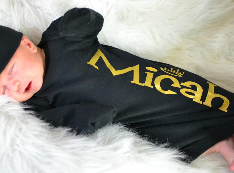 Baby Boy Personalized Black and Gold Gown Newborn Boy Black image 0