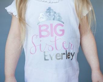 New Baby shirt -Big Sister Princess shirt - New Sibling Shirt - New Big Sister shirt - Personalized big sister shirt - New Sibling Gift