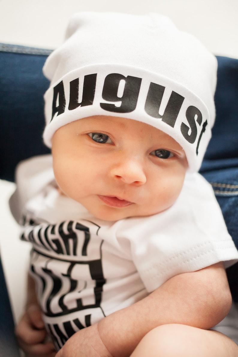 Newborn Boy Name Hat newborn baby hat personalized newborn hat image 0