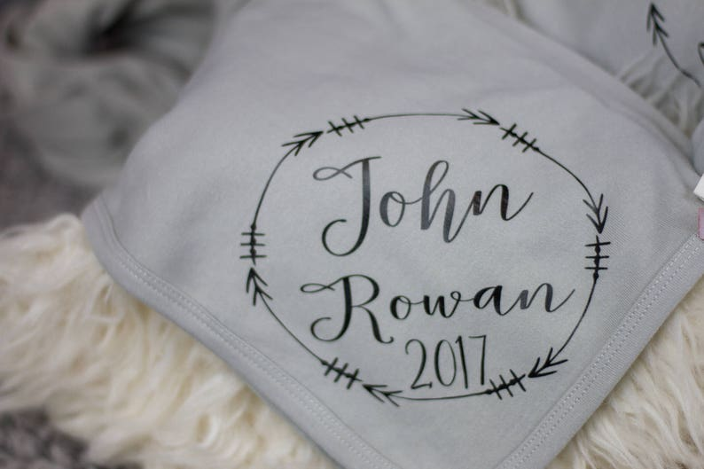 Gray Baby boy name blanket  knit baby blanket  personalized image 0