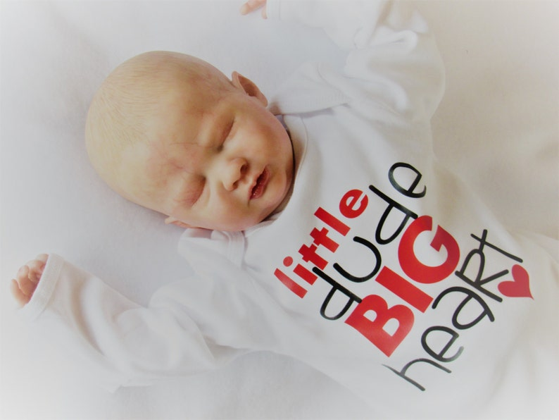 Newborn gown Little Dude Big Heart baby boy take home outfit image 0
