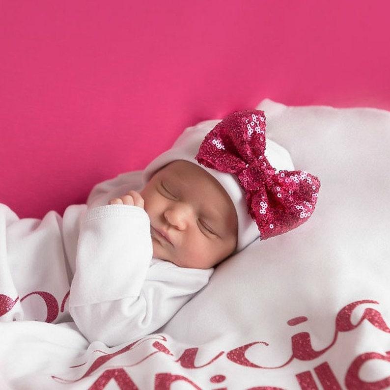 Raspberry bow white Newborn Girl hat.newborn baby image 0