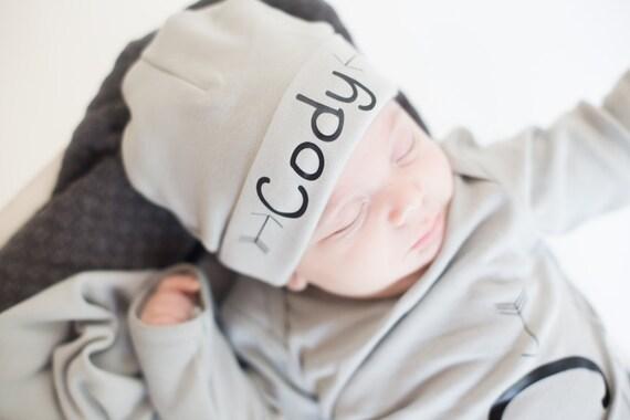 Grey personalized newborn boy name hat newborn baby boy  acac11a99311