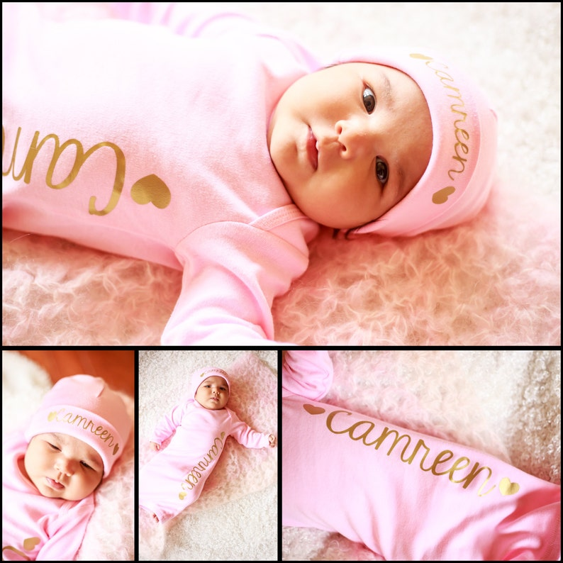 Baby Girl Pink Personalized bodysuit  coming home outfit image 0