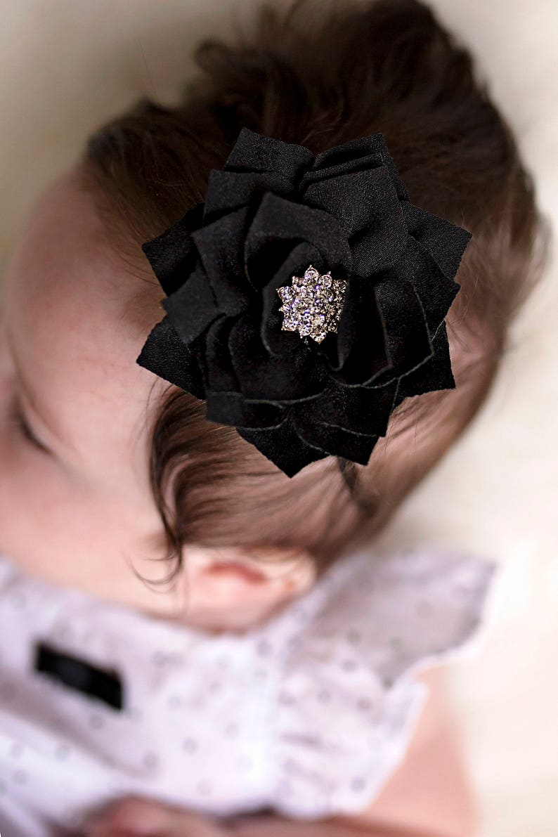 Headband  Black rhinestone flower New Mom Newborn girl take image 0