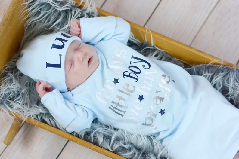 Newborn boy coming home outfit bodysuit or gown Baby shower image 0