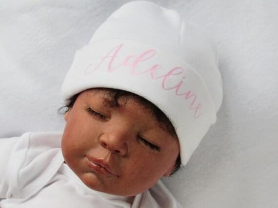 Pink and white newborn Girl name hat personalized newborn  3b37ca5ba1e