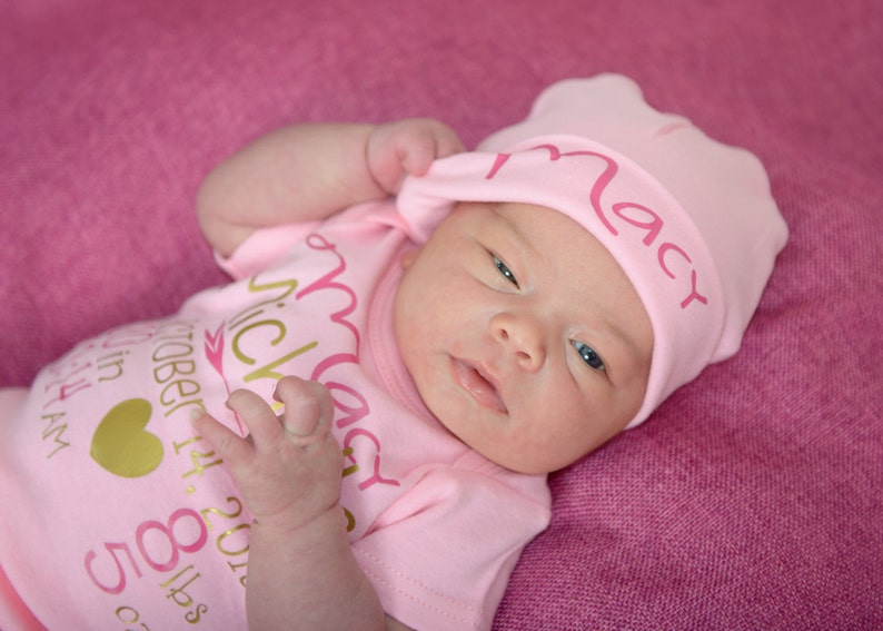 Pink newborn girl hat...newborn baby hat...personalized image 0