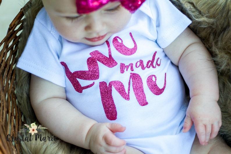 Love made me newborn girl gown.newborn girl pink glitter image 0