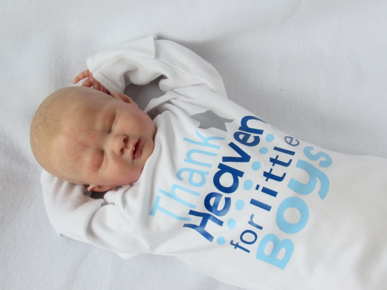 Thank Heaven for little boys newborn bodysuit or gown Baby image 0