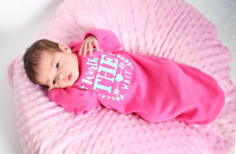 Worth the wait newborn gown newborn girl hot pink & aqua image 0