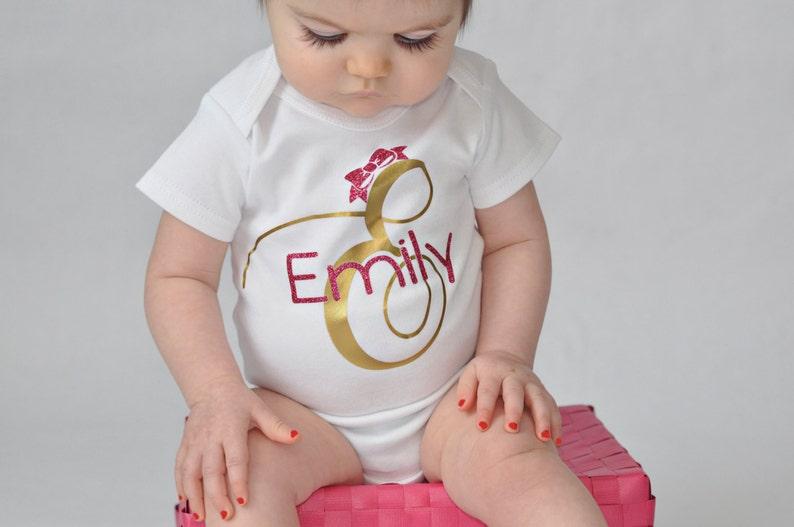 Monogrammed newborn girl name bodysuit  newborn girl gown  image 0