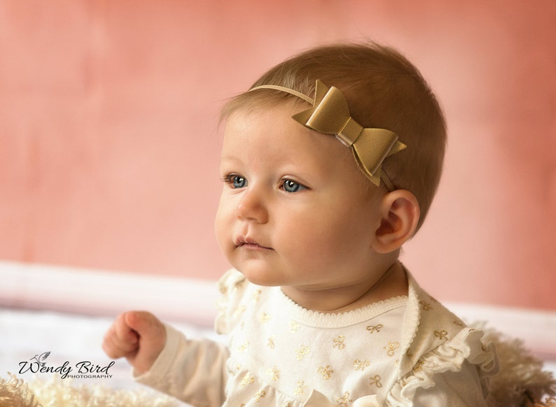 Cute Gold Bow Newborn headband Gold Faux baby girl leather image 0