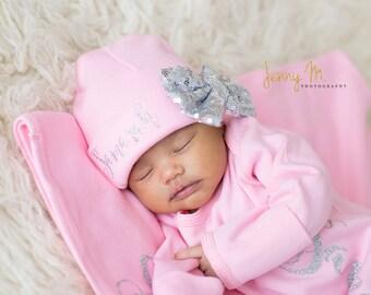 Silver Bow on Pink Newborn Girl hat, newborn baby hat, pink newborn hat, Newborn baby girl beanie, girl hat, take home hat, newborn prop