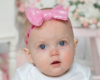 Pink headband Hair accessories Hair clip Flower girl baby shower gift newborn photo prop