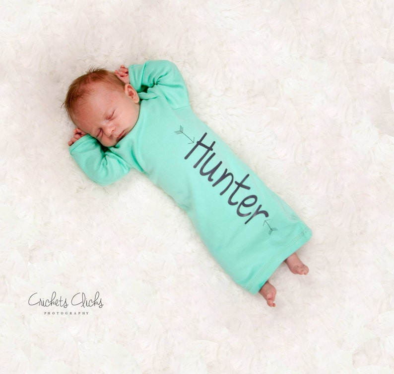 Baby boy Personalized aqua gown newborn boy aqua and grey image 0