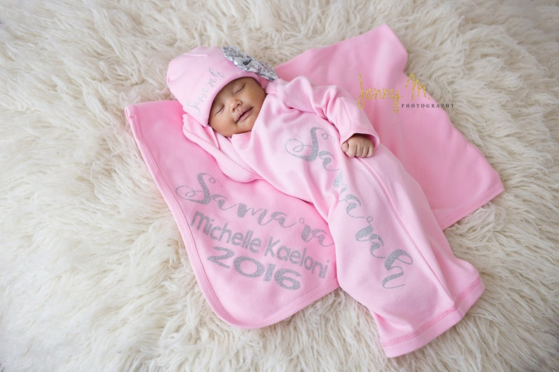 Newborn blanket pink Personalized..personalized knit baby girl blanket...customized name blanket...swaddle wrap blanket..newborn photo prop