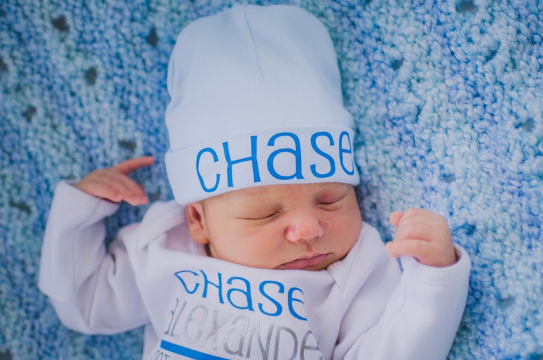 Personalized newborn boy hat...newborn baby boy hat...light image 0