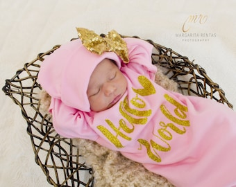Baby girl coming home outfit.  Hello world glitter heart. Baby shower gift. Newborn girl outfit. Hat Sold Separately