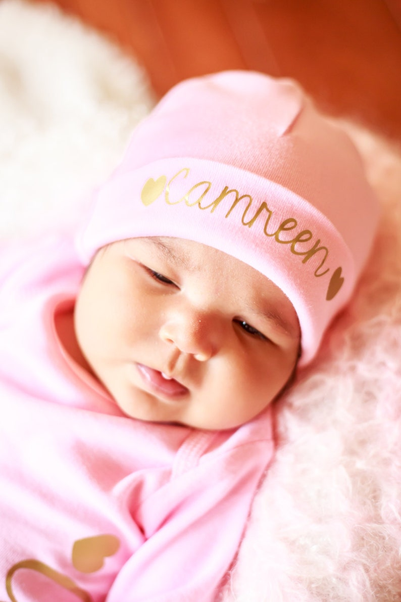 Pink personalized newborn hat girl coming home outfit name hat image 0