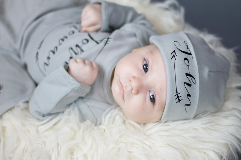 newborn Gray personalized name hat newborn baby boy  baby image 0