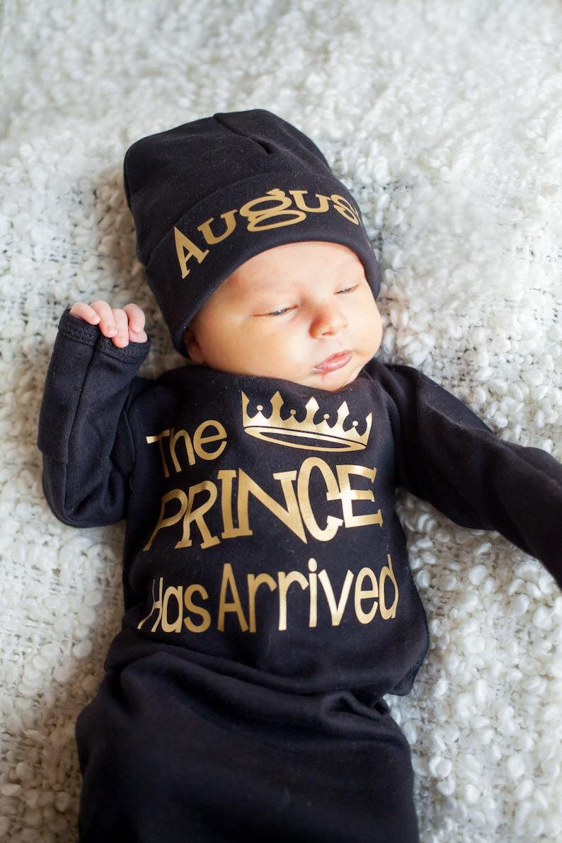 Prince Has Arrived Newborn boy black and gold bodysuit  take image 0
