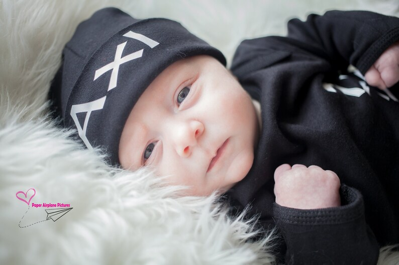 Personalized Newborn Hat Black and White Name Hat Baby Boy image 0