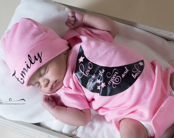 Love you to the Moon newborn girl bodysuit or gown. Baby shower gift. baby girl coming home outfit. Hospital outfit. Hat sold separate.