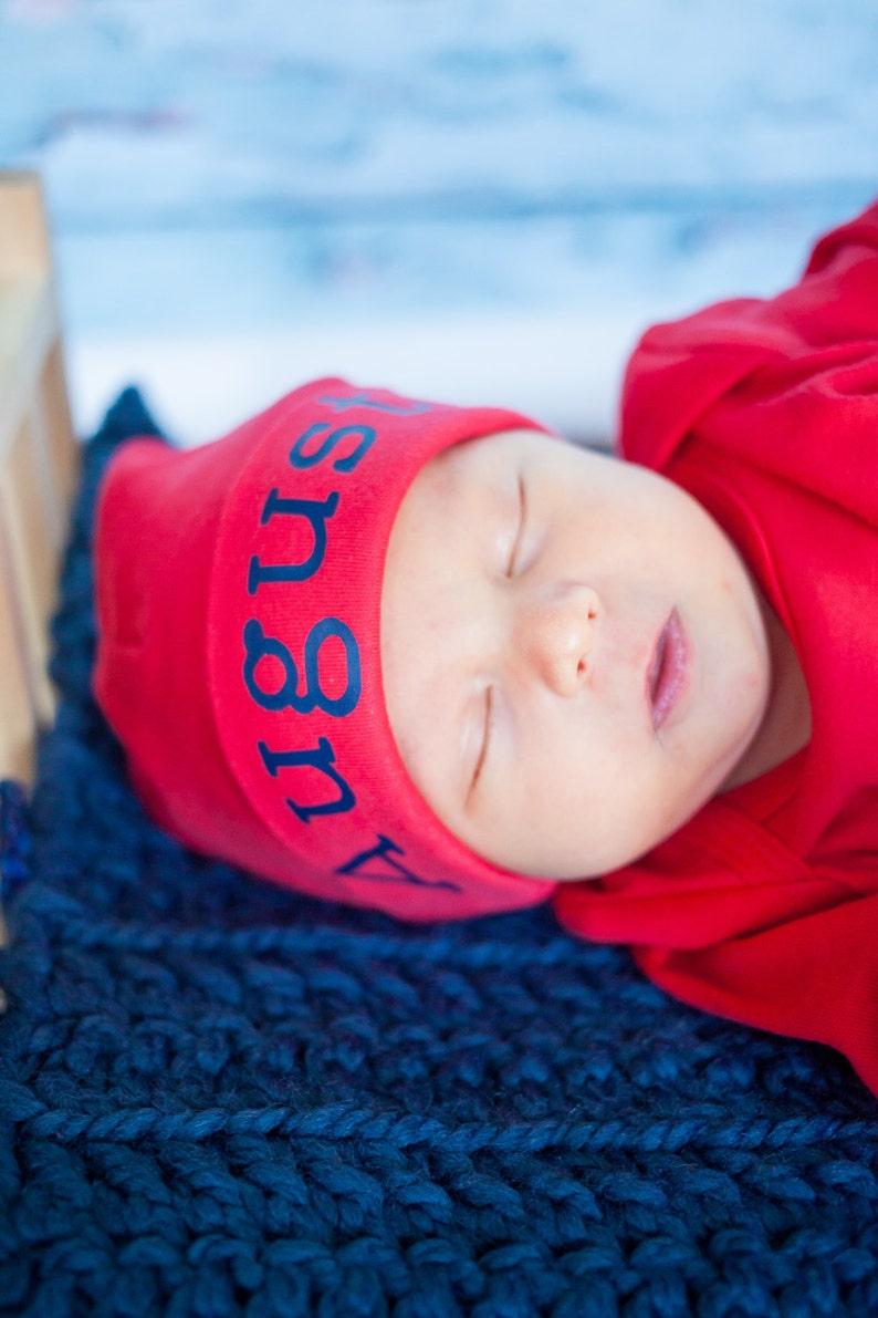 Red Personalized newborn boy knit hat newborn boy take home image 0