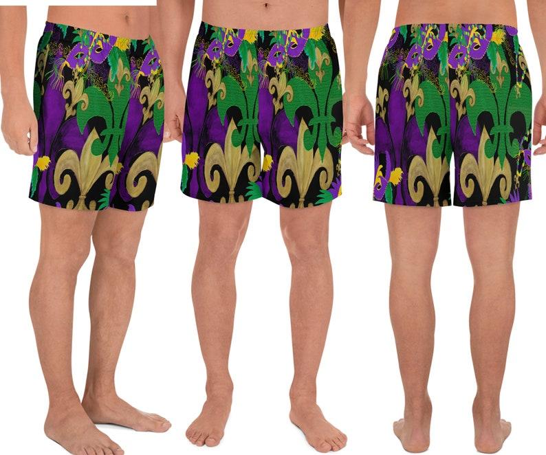 Men/'s Mardi Gras fleur de lis and masks on black leggings or athletic shorts