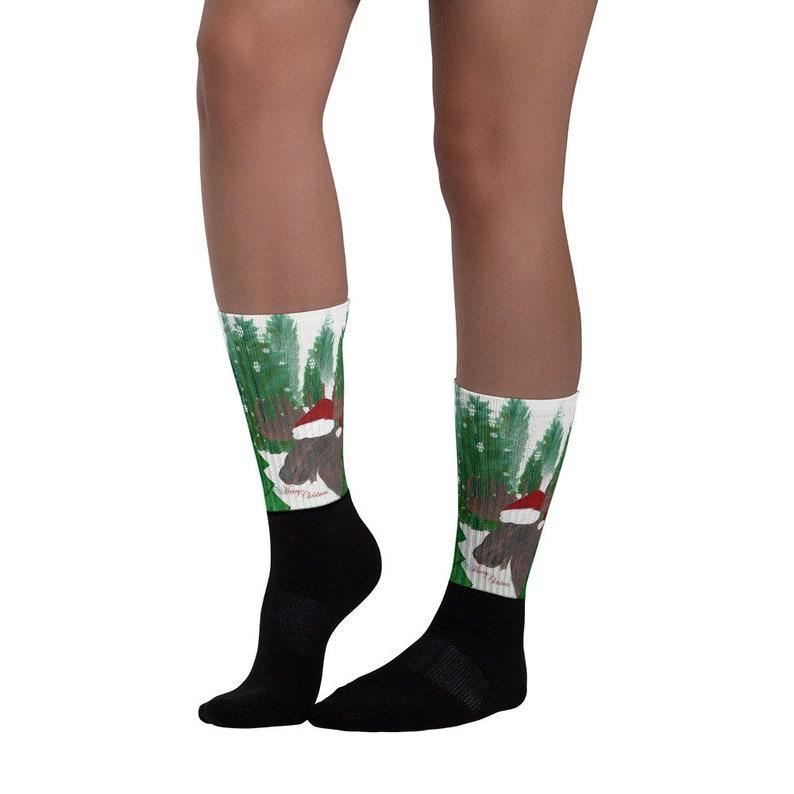 Santa moose Christmas Holiday Socks from my art.