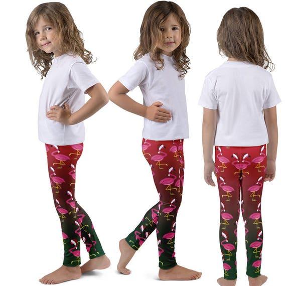 Santa Christmas flamingo Holiday kids leggings from art