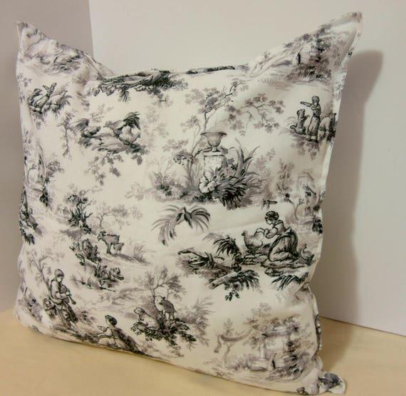 Toile Decorative Pillow Cover Gray Farmhouse Pillow Covers Etsy Gorgeous Toile Decorative Pillows