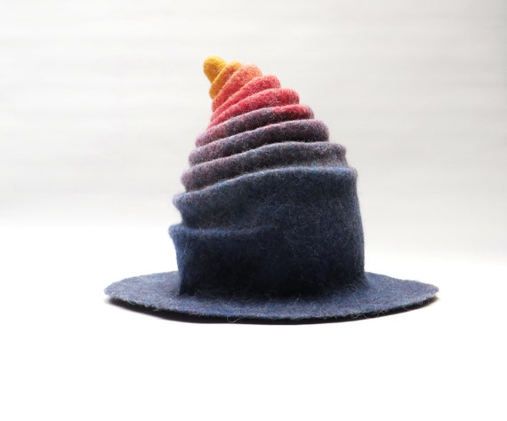 Wet felted sauna hat Rainbow coloured head cover soft  9397d6be5e2
