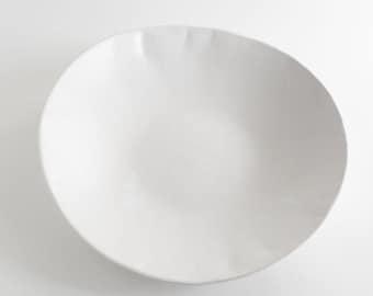 White Matte Ceramic Serving Bowl, Handmade Stoneware Bowl, Pottery Bowl, Large Serving Bowl