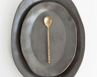 Charcoal Shino Platter, Large Serving Platter, Stoneware Platter, Ceramic Platter