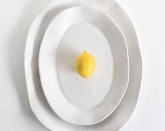 White Matte Serving Platter, Handmade Ceramic Serving Platter, Medium Platter, Large Platter, Stoneware