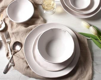 White Matte 3 Piece Set, Dinnerware Set, Dinner Plate, Bowl, Ceramic Plates, Ceramic Bowls, Tableware