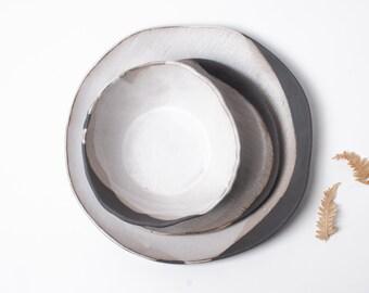 Rustic Pour Over Dinnerware Set, 3 Piece Set, ceramic dinner plate, ceramic salad plate, ceramic bowl, handmade, organic