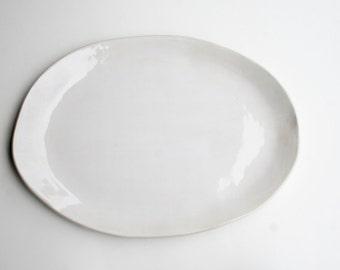 Large Oval Serving Platter, Handmade Stoneware, White Gloss
