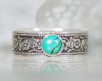 Turquoise Silver Ring - Sterling Silver Turquoise Ring - Bohemian Jewelry - December Birthstone Ring - Turquoise Thumb Ring - Size 10.5