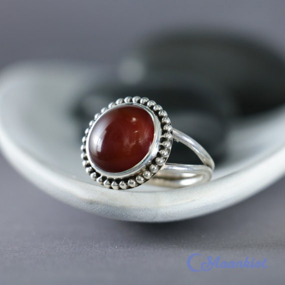 Red Engagement Ring -December Birthstone Ring Sterling Silver Bezel Set Stacking Ring Red Onyx Gemstone Promise Ring Red Gemstone Ring