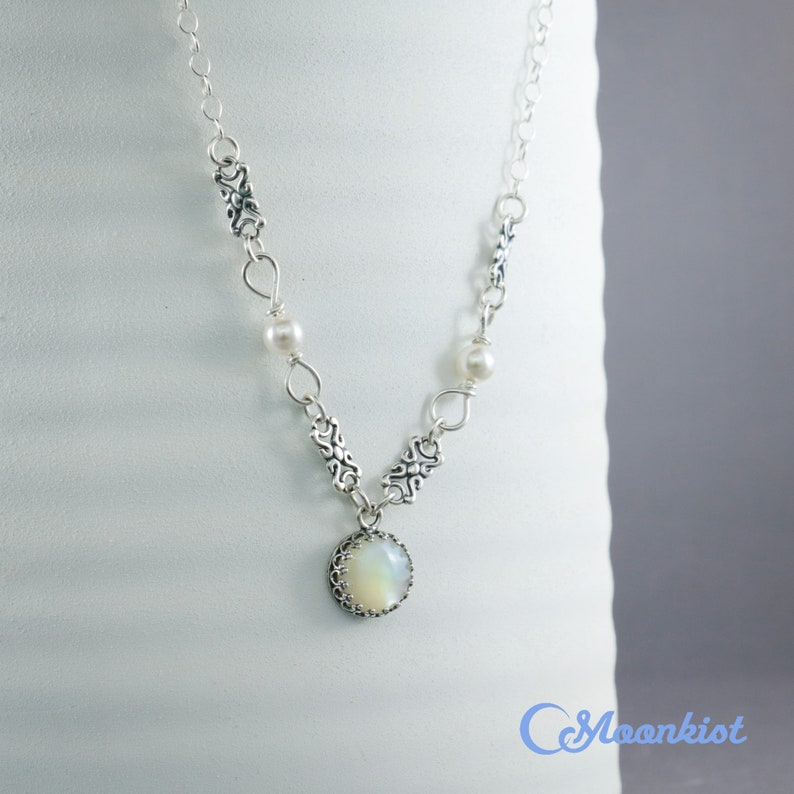 Moonkist Gallery Sterling Silver White Pearl Necklace Pearl Bridal Necklace Pearl and Silver Necklace Silver Pearl Layer Necklace
